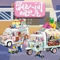 Новая модель, городская серия, вид на улицу, 480 шт. + грузовик для еды, фрукты/Мороженые, магазин, обучающая Интерактивная сборная игрушка 1737 ...