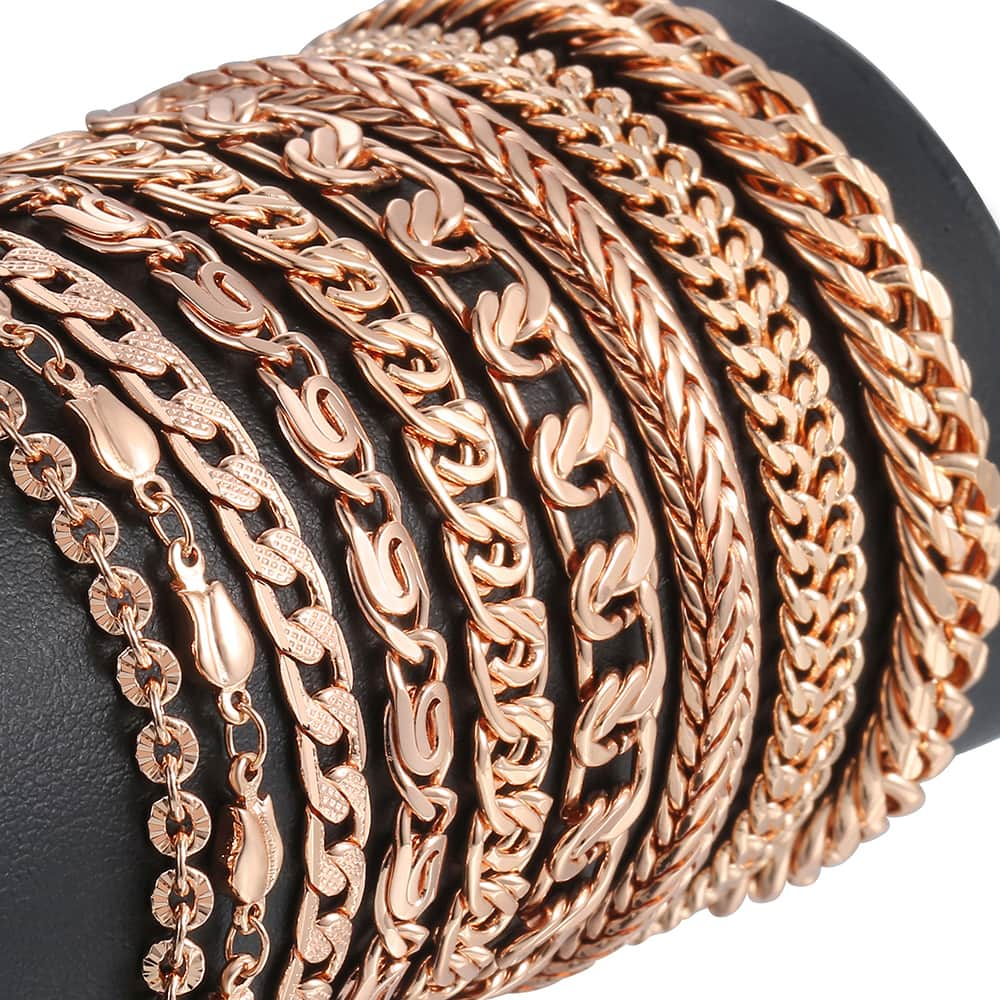 Bracelets for Women Men 585 Rose Gold Curb Snail Link Chain Woman Bracelets Hot Party Jewelry Gifts 18cm-23cm GBB1(Hong Kong,China)