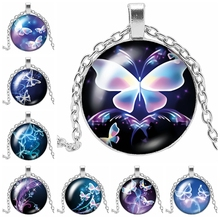 2019 New Charm Moving Color Butterfly Glass Convex Round Pendant Necklace Blue Element Flower Sweater Chain