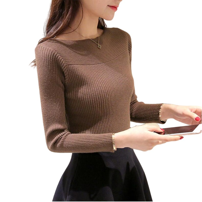 New 2021 Spring Autumn women ladies long sleeve boat neck knitted sweet sweater top femme korean pull casual shirts jumper
