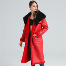 Fur Coat Shearling Fur-Clothing Real-Sheepskin Natural Winter Fashion Women Long-110cm