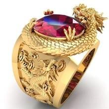 Кольцо для мужчин с объемным трехмерным изображением дракона
