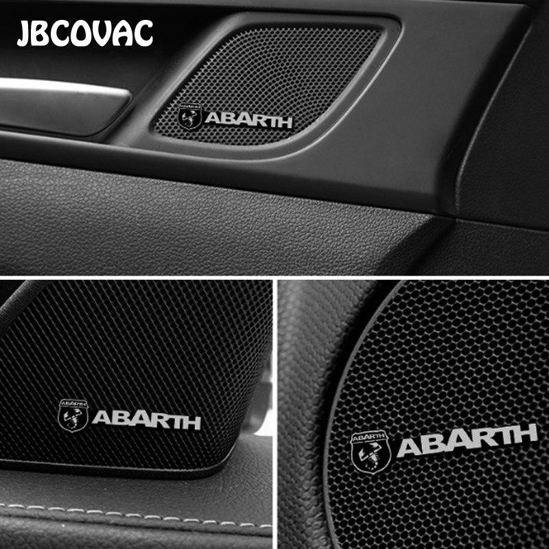 2/4pcs Car Accessories Auto Audio Speaker Stereo Sticker Case For Abarth 500 Punto Ducato Freemont Stilo Panda Bravo Car Styling