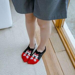 Image 2 - Dinsey 여름 캐주얼 여성 양말 한국 여성 동물 만화 마우스 발목 양말 귀여운 보이지 않는 양말 얇은 면화 stopki 보트 양말
