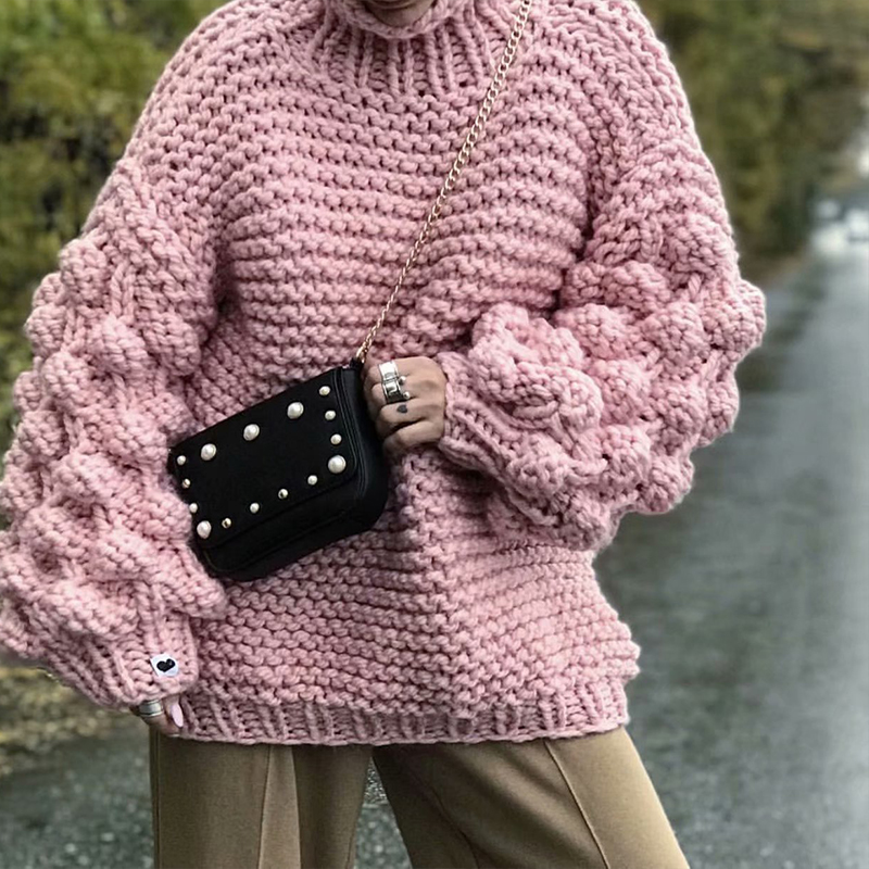 Handmade warm knitted jacket Casual handknitted pink suit blazer