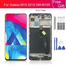 עבור samsung galaxy M105 2019 lcd תצוגת מסך מגע Digitizer עצרת עבור Samsung M10 lcd עם מסגרת תיקון חלקים
