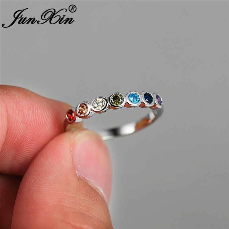 Einreihige Multicolor Zirkon Dünne Ring Weiß Gold Regenbogen Feuer Kristall Stein Hochzeit Ringe Für Frauen Stacking Ring Schmuck Cz