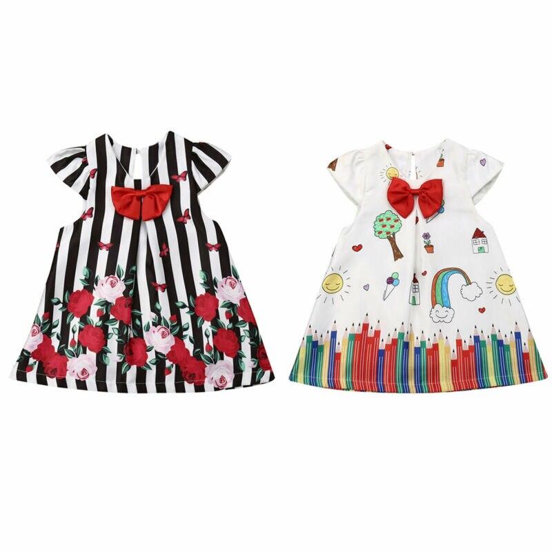Милое платье для маленьких девочек; одежда с рисунком; платье-пачка принцессы с рукавами-крылышками; рождественские вечерние платья для мал...
