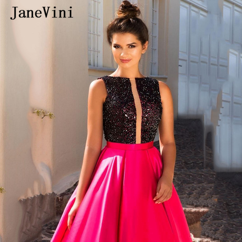 JaneVini 2020 Elegant Fuchsia Long Prom Dresses A Line O Neck Sequins Top Sleeveless Sheer Back Formal Satin Dress Floor Length