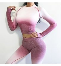 2PCS Yoga Set Women Long Sleeve Crop Tops And High Waisted Tummy Control Sport Leggings Gym Clothing Ombre Seamless Sport Suit