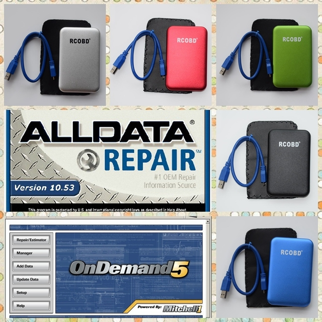 Alldata software 10.53 and Mitch-ell ondemand All data Auto Repair data fit win7 XP system 750GB HDD with enclosure and USB 3.0