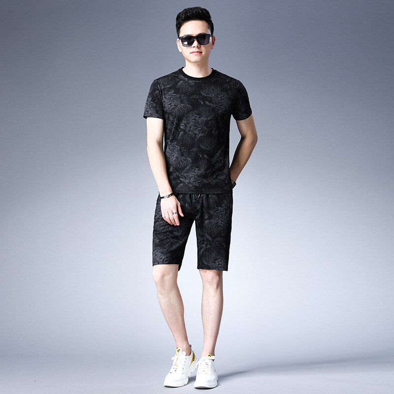 Mens Summer Tracksuit Animal Printed Short Sleeve Sweatshirt High Street Male Sportswear O-Neck Casual Tshirt 2 Piece Set 4XL