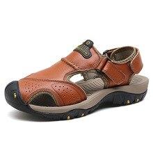 купить Men Sandals Genuine Split Leather Men Beach Roman Sandals Brand Men Casual Shoes Flip Flops Men Slippers Sneakers Summer Shoes дешево