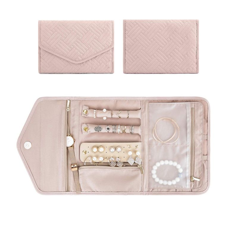 Travel Jewelry Organizer Roll Foldable Jewelry Case For Journey-Rings Necklaces Jewerly Storage Bag