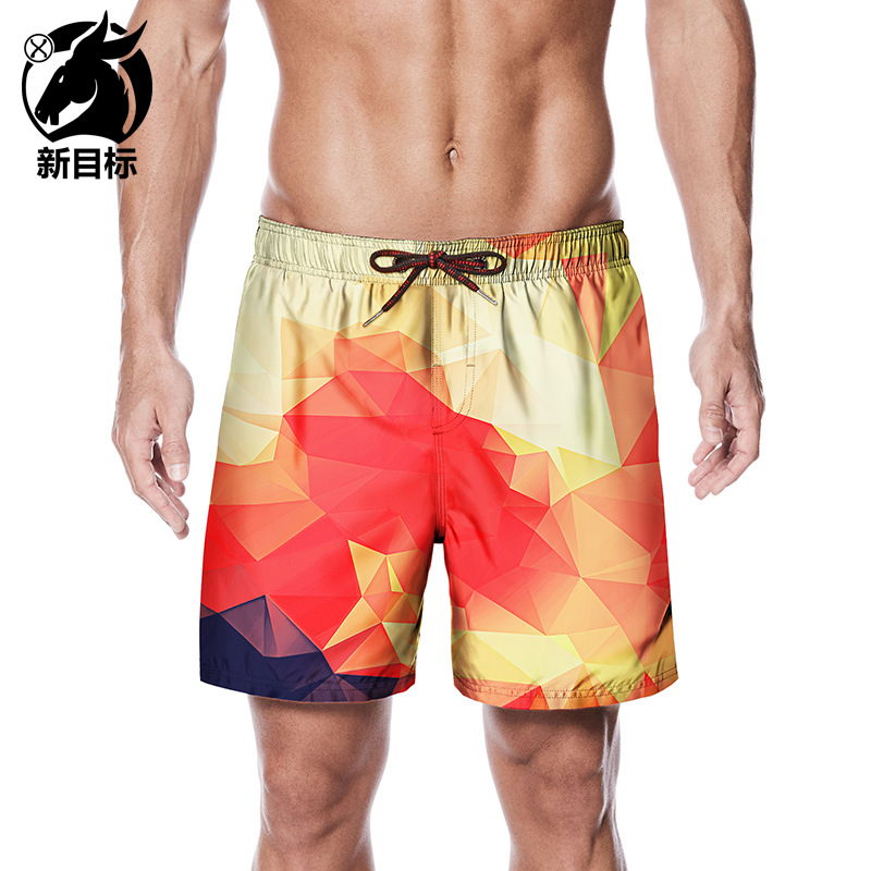 Amazon Hot Selling 2019 Summer Colorful Gradient Check Print Beach Shorts Street Casual Fashion MEN'S Swimming Trunks