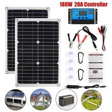 180 Вт гибкий набор солнечных панелей с 20A солнечным контроллером двойной USB полная мощность поколение смартфонов батарея автомобиля ЛОДКА К...
