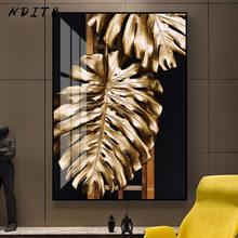 Abstract Golden Leaf Monstera Canvas Schilderij Minimalistische Art Poster En Print Moderne Muur Foto Woonkamer Gang Decor