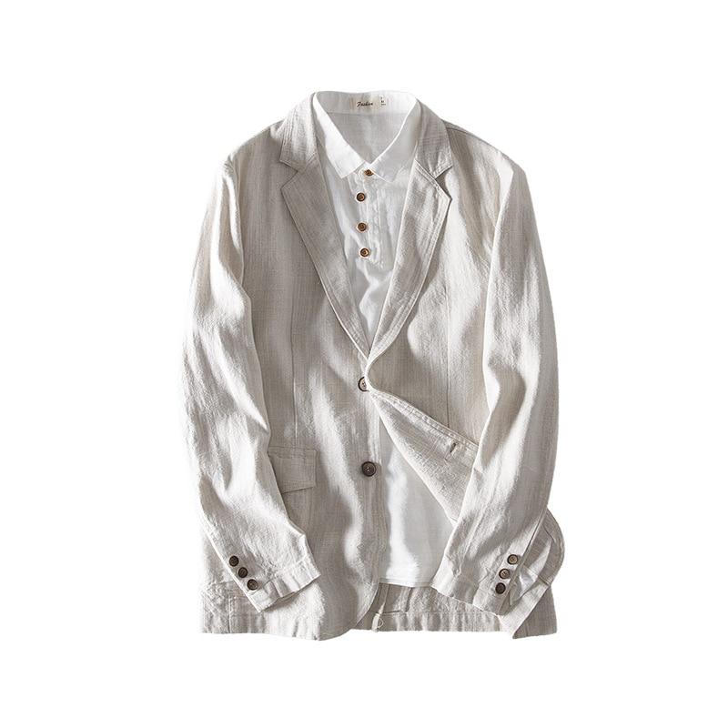 BOBO 2020 Men Autumn New Style Casual Blazer Long Sleeve Flax Solid Color Blazer