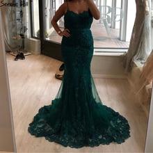 Sereno colina verde sexy querida renda cristal vestido de noite 2020 dubai luxo sereia formal festa vestido foto real cla60712