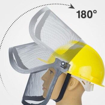 מלא פנים רשת דשא גוזם קסדה חיצוני מגן מסכת מתכת Visor במקום העבודה גן מגיני אוזניים 180 מעלות מתכווננת