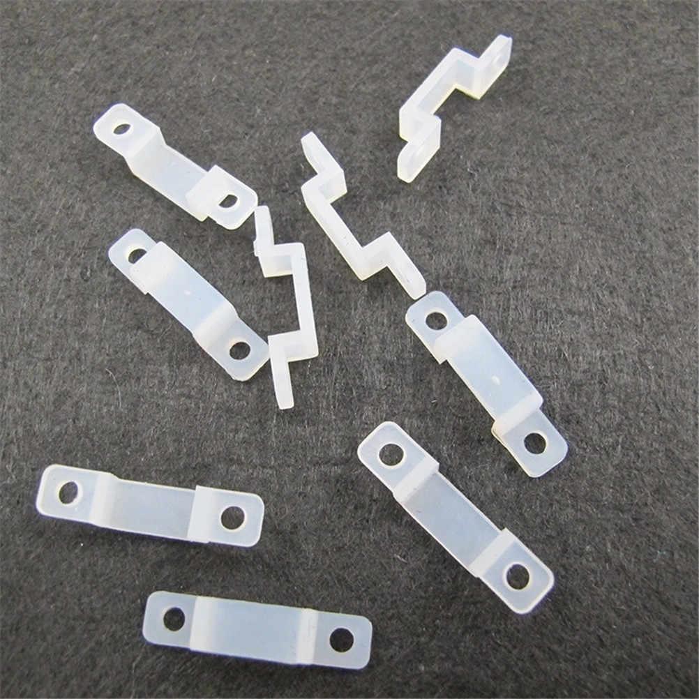 10 sztuk LED mocowania silikonowe klipsy montażowe klamry zaciski 10mm dla naprawiono 5050 5630 taśmy Led wodoodporna taśma LED światła