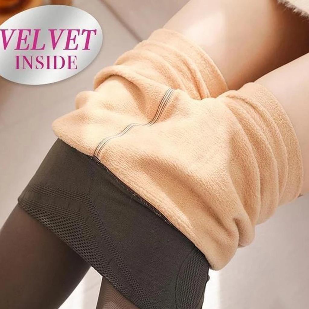 Calças de lã quente pernas falso translúcido alta elasticidade magro elástico calças de inverno ao ar livre meia-calça 80g/220g/320g