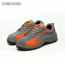 цена Leather Safety Shoes Men Security  Safety Boots  Steel Toe Steel Sole Work Shoes  for Anti-Smash онлайн в 2017 году