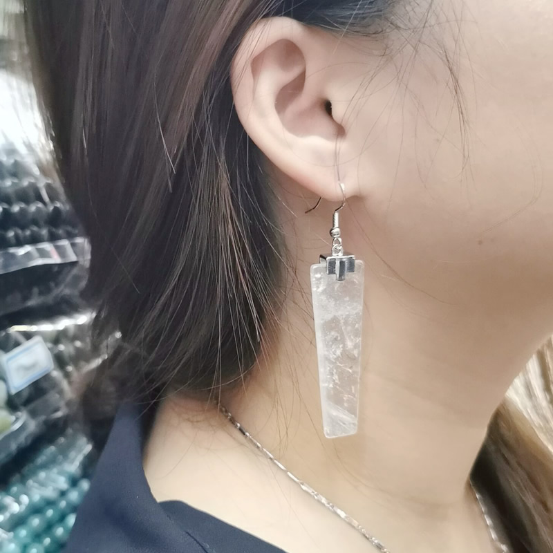 Natural Crystal Quartz Drop Earring Trapezoid Geometric Long Stone Dangle Earrings Healing Charm Ear Jewelry for Women