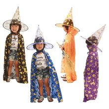 Child Kids Halloween Witch Wizard Costume Cosplay Cape Pumpkin Bat Cat Bronzing Print Role Play Dress Up Cloak with Pointed Hat plus size halloween cat bat pumpkin print dress