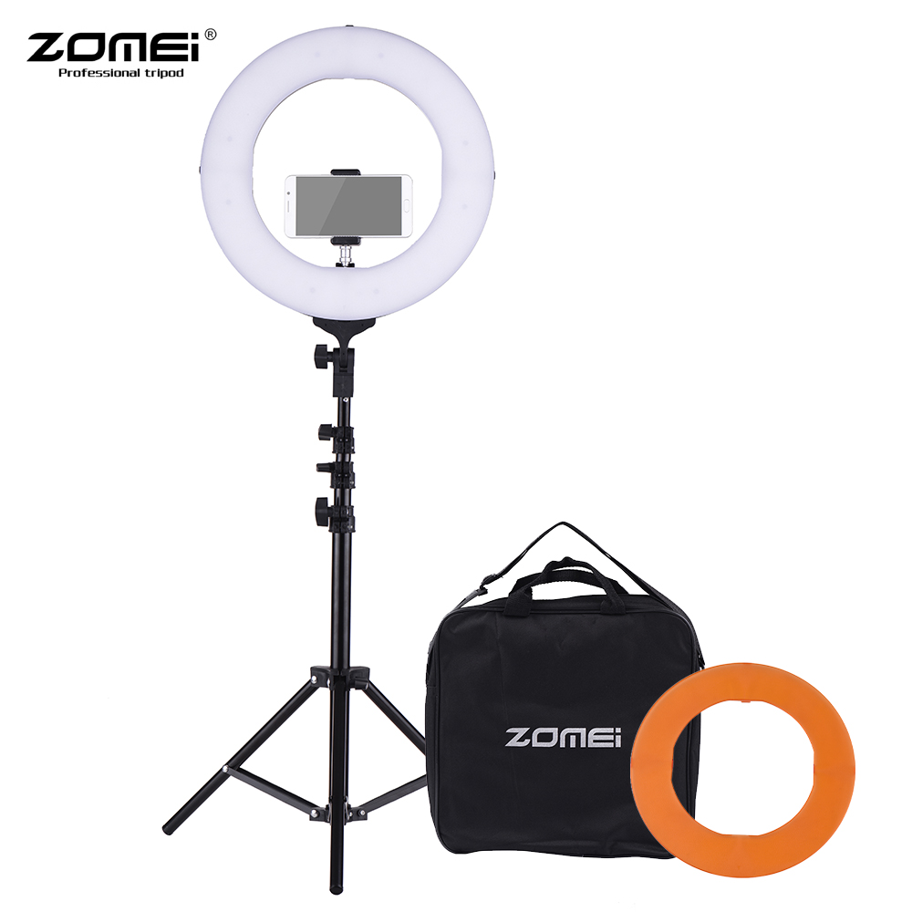 ZOMEI 14 Inch 5500K Mono color Dimmable Ring Video Light LED Fill Light CRI 90+ for Wedding Portrait Photography Live Show