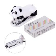 Deli panda stapler. Mini Small Student Binding Cute Children Stapler Set With Nails Portable 10
