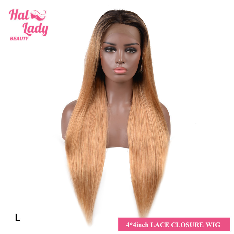 Halo Lady Beauty 4*4 Lace Closure Wigs T1B 27 99J Red Brazilian Ombre Color Lace Human Hair Wig 150% With Dark Roots Non-remy