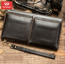 Business Genuine Leather Clutch Wallet Men Long Leather Phone Bag Purse Male Large Size Handy  Card Holder Money Bag ASB033