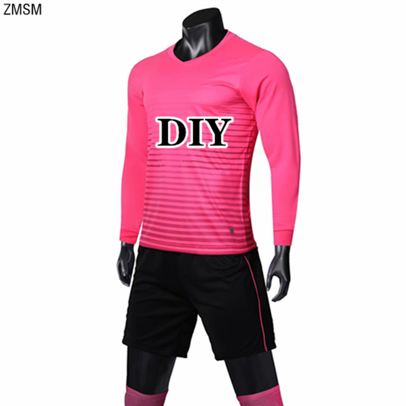 ZMSM Men Long sleeve Soccer Jersey Set Stripe Sportswear Blank Football Shirts & Shorts V-neck Training Suit Team Uniform Custom