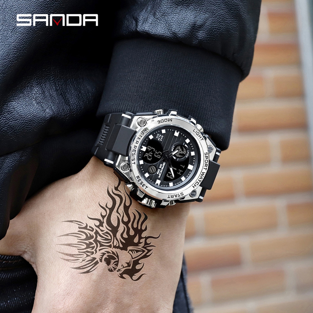 SANDA Military Quartz Shock Watch  5