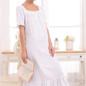 Image 3 - New Arrival Vintage koszule nocne Sleepshirts eleganckie damskie sukienki księżniczka bielizna nocna drukuj koszula nocna domowa koronkowa Sleep & Lounge # H875