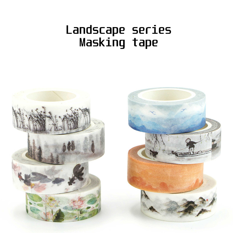 Chinese Landscape Paper Washi Tape River Lotus And Mountain Forest 15mm Adhesive Masking Tapes Stickers Album DIY Deco A6354