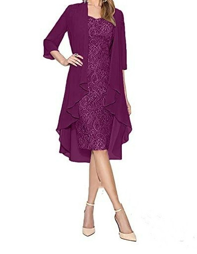 2019 Two Pieces Chiffon Wrap Knee Length Lace Monther Of The Bride Dresses Three Quarter Sleeves Purple Gray Wedding Guest Dress