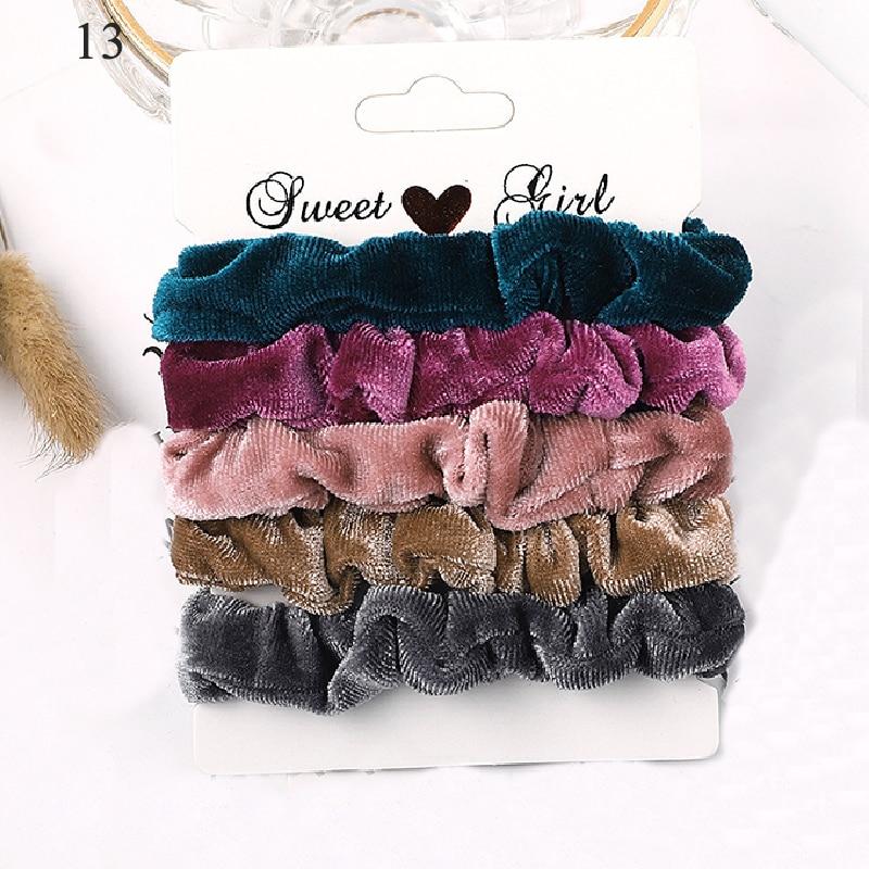1 комплект резинки для волос кольцо для волос карамельного цвета Веревка для волос осень-зима женский хвостик аксессуары для волос 4-6 шт. ободки для девочек Подарки - Color: New 13