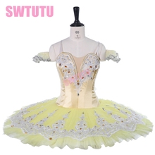 Yellow classical ballet Stage  Professional pancake tutu child performance dress BT9267