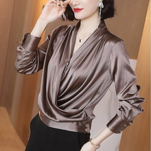 Fall Spring 2020 Female Womens Deep V Neck Long Sleeve Imitation Silk Loose Top Shirt