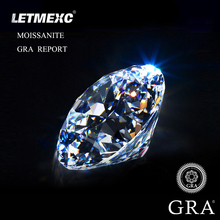 LETMEXC Loose Moissanite Diamond Gemstone 1.0ct 6.5mm D Color VVS1 Round Excellent Cut For Customized Jewelry With GRA Report