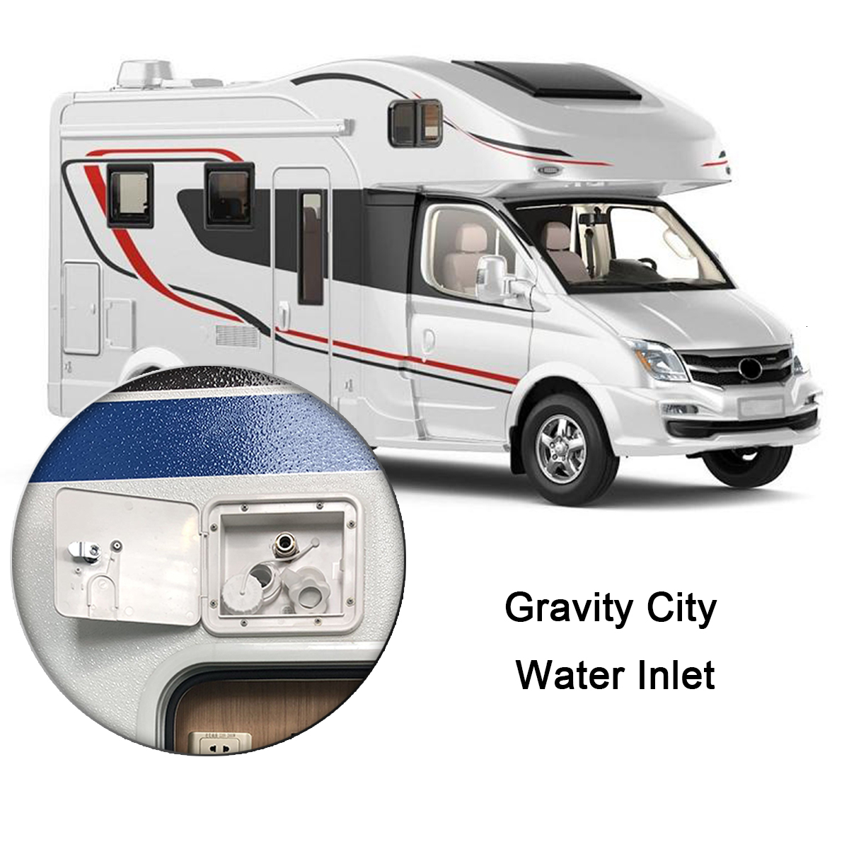 White Gravity City Water Inlet Integrated Fill Dish Hatch Lock For RV Trailer Car