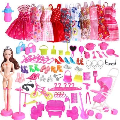 109 Item/Set Doll Accessories=10 Mix Fashion Cute Dress+ 99Barbieing Accessories Random