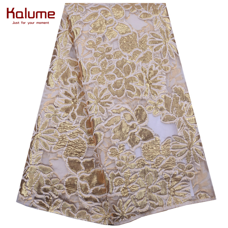 Kalume 2020 Fashion Gilding African Lace Fabric Flower Style Gilding French Mesh Lace Fabric For Nigerian Party Wedding F1846