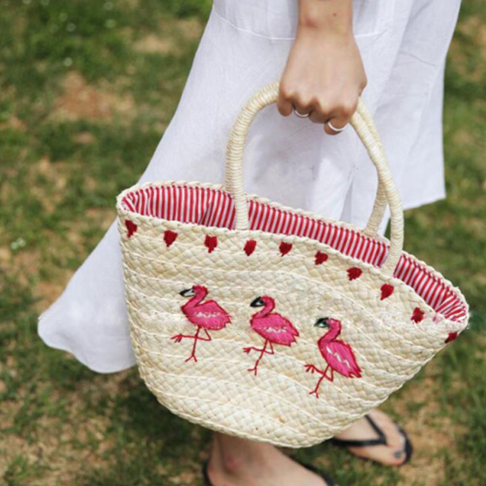 Wedding handbag Women/'s Straw Handbag Flower Woven Summer Beach Messenger Tote Bag Basket Shopper Purse