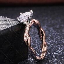 Huitan – bague de mariage à 4 griffes en pierre de Zircon pour femmes, bijoux éblouissants, couleur or Rose, demande d'anniversaire