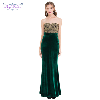 Angel-fashions Women's Strapless Embroidery Velour Pleated Evening Dress Dark Green Formal Party Dress 431