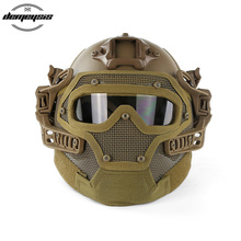 TAN Tactical Helmet with Mask Airsoft Helmet Paintball Fullface Protective Face Mask Helmet for Sports CS Military Helmet