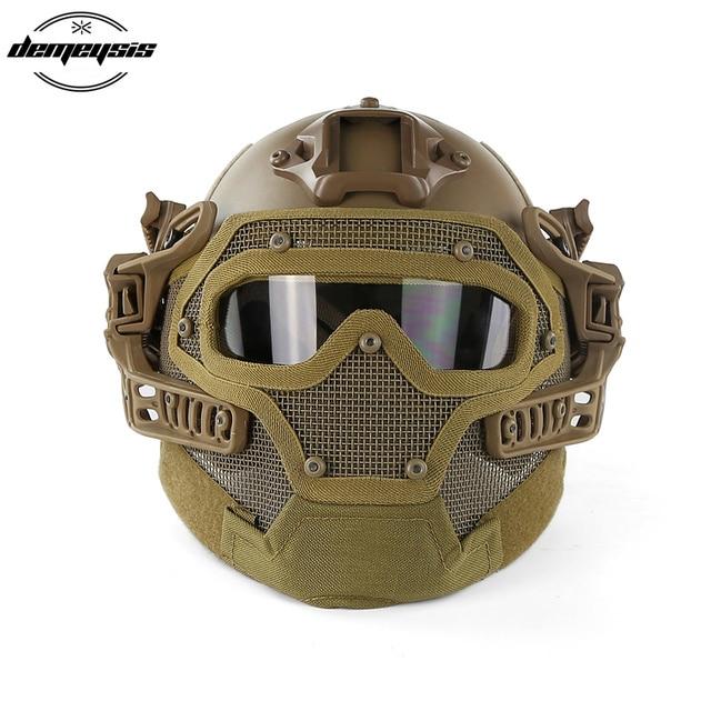 TAN Tactical Helmet with Mask Airsoft Helmet Paintball Fullface Protective Face Mask Helmet for Sports CS Military Helmet